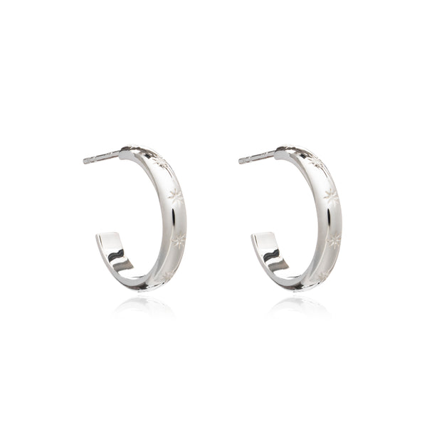 Star Studded Medium Hoops - Silver