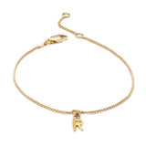 Mini Initial Charm Chain Bracelet - Gold