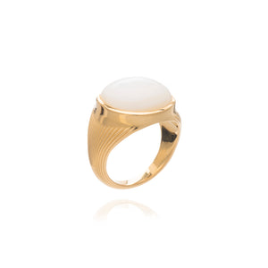 Round Mother of Pearl Cabochon Statement Gold Ring
