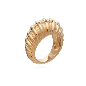 Dina Tokio Statement Gold Dome Twisted Ring