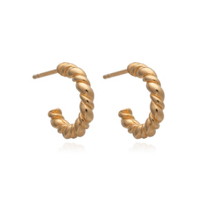 Dina Tokio Small Gold Rope Twist Hoop Earrings
