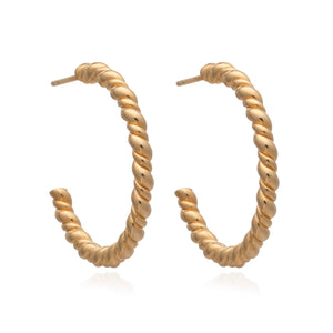 Dina Tokio Large Gold Rope Twist Hoop Earrings