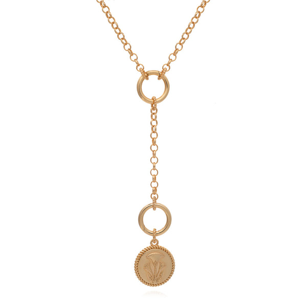 Dina Tokio Gold Y Necklace with Papyrus Coin
