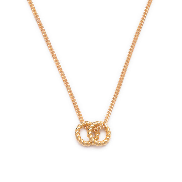 Dina Tokio Gold Necklace with 2 Eternity Rope Rings