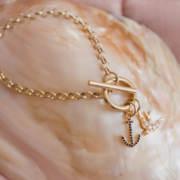 Charm Bracelet, Swallow & Anchor - Gold