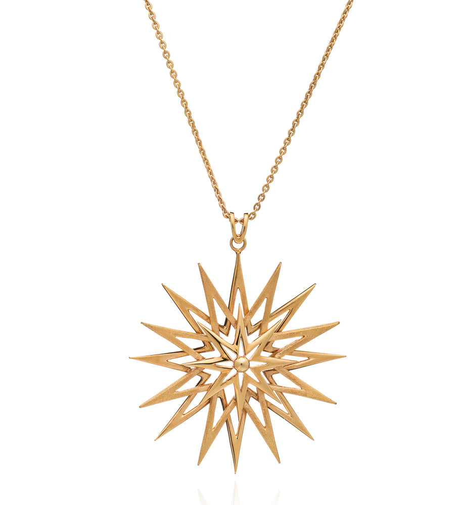 Star pendant necklace large gold Rachel Jackson London