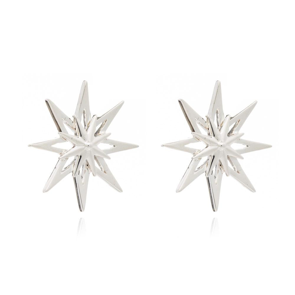 Star stud earrings large silver Rachel Jackson London