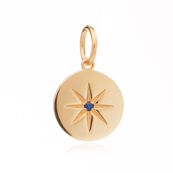 Mother of Daughters September Birthstone disc charm gold Rachel Jackson London