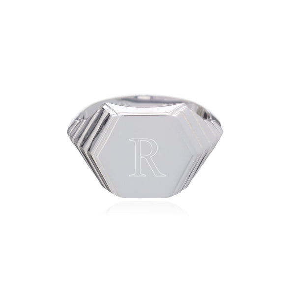 Art Deco Hexagon Signet Ring - Silver