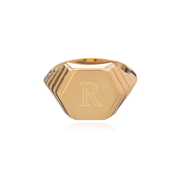 Art Deco Hexagon Signet Ring - Gold