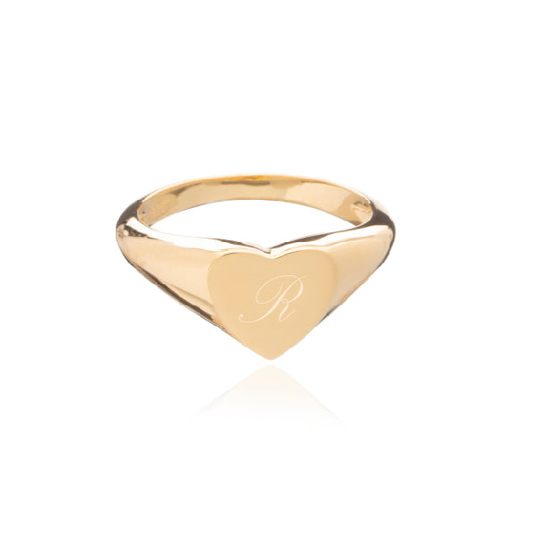 Heart Signet Ring - Gold - N