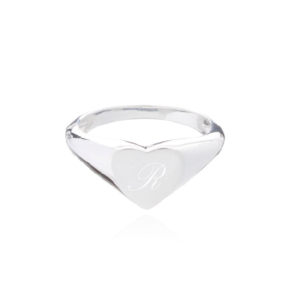Engravable Heart Signet Pinky Ring - Silver