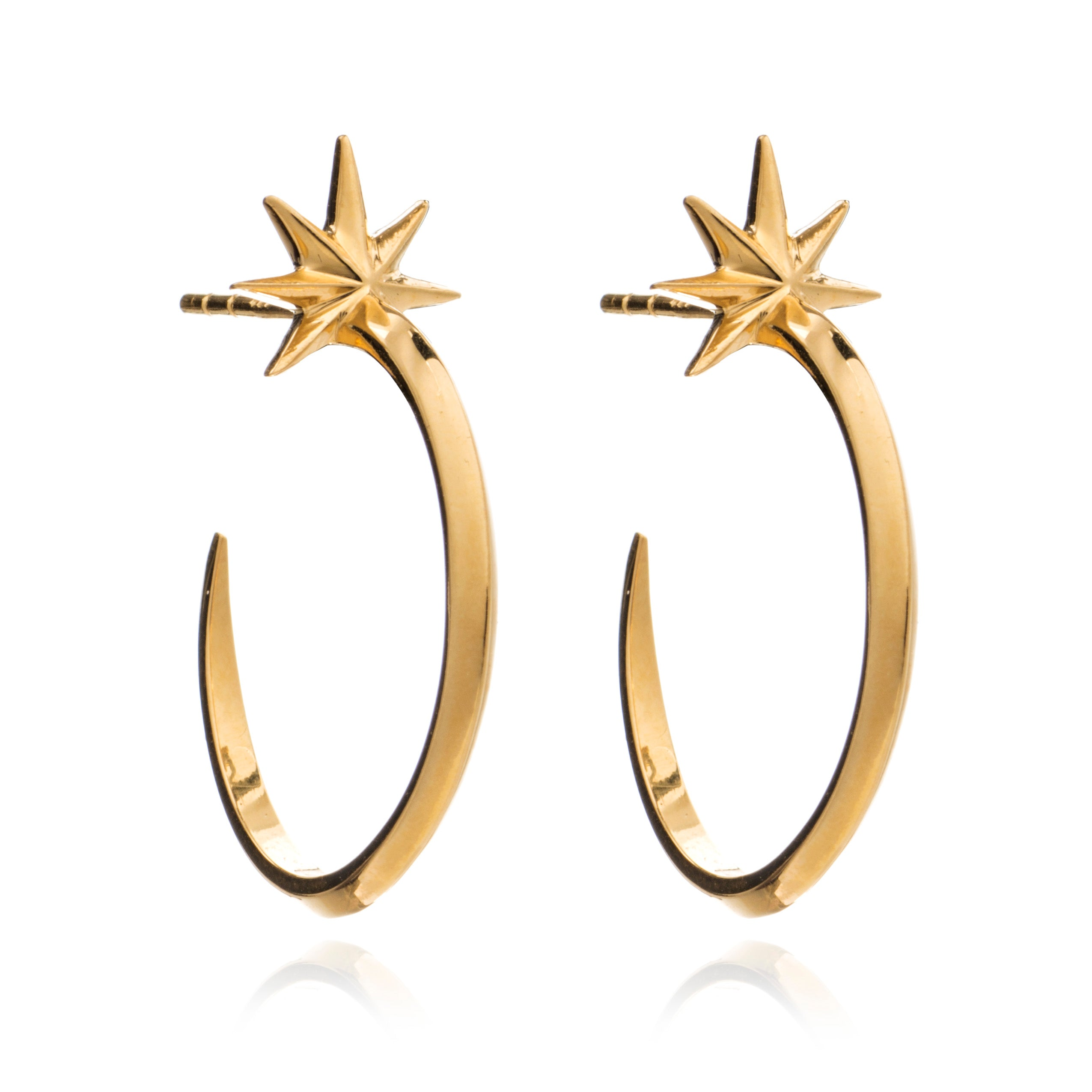Shooting Star Hoops Earrings gold Rachel Jackson London