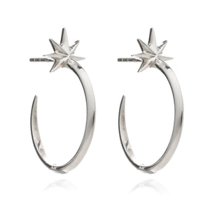Medium Rockstar Hoop Earrings - Silver