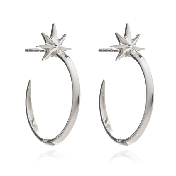 Shooting star hoops earrings silver Rachel Jackson London