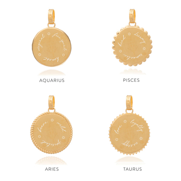 Statement Zodiac Art Coin Short Necklace - Gold