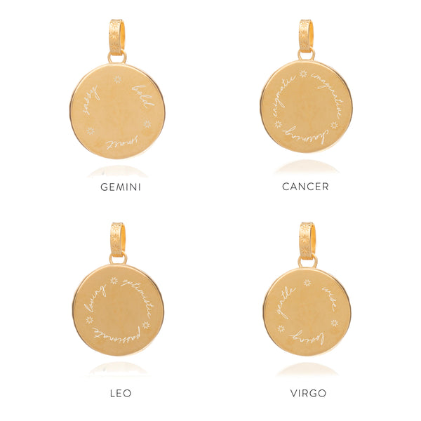 Statement Zodiac Art Coin Long Necklace - Gold