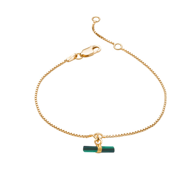 Mini Malachite T-Bar Gold Bracelet
