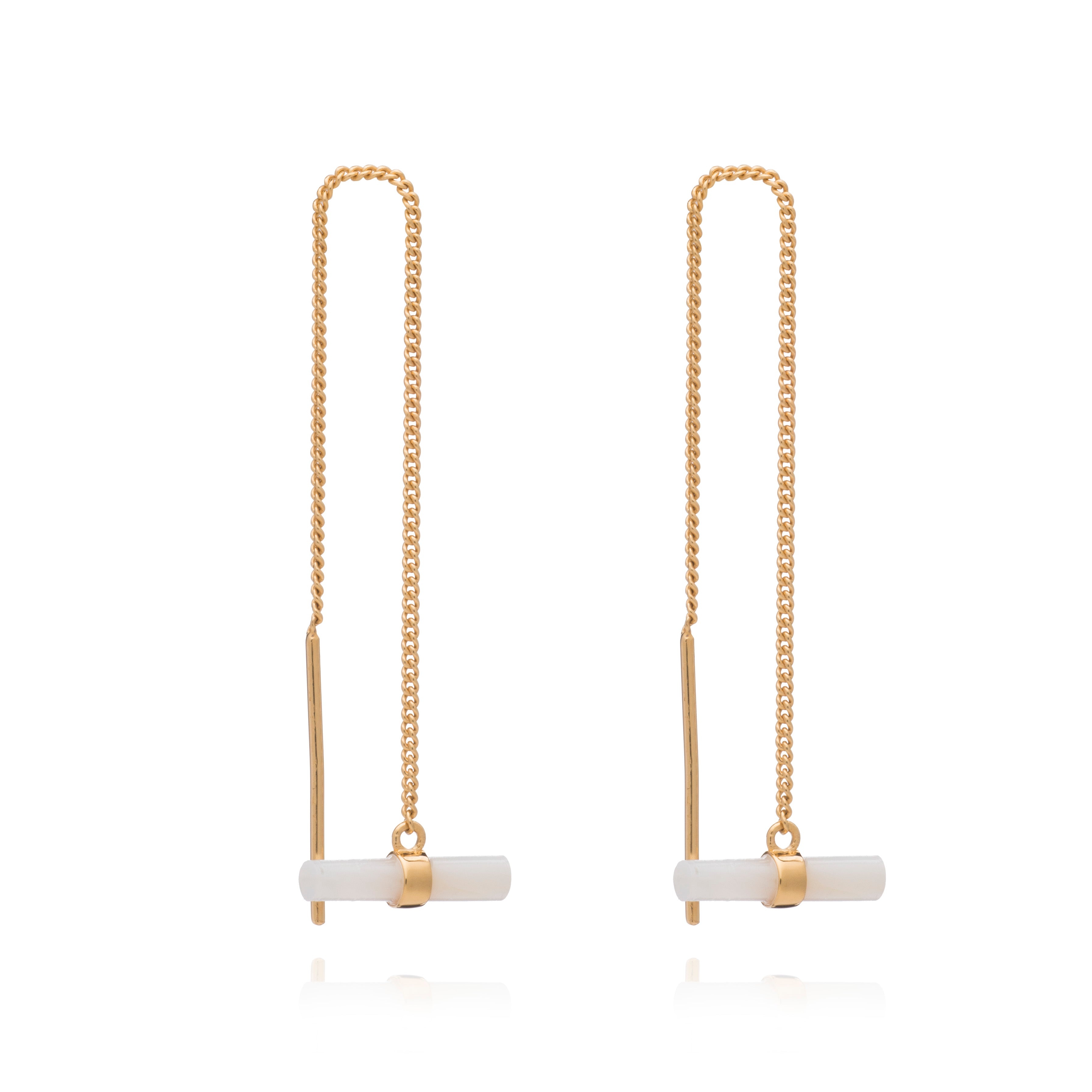 Mini Mother of Pearl T-Bar Gold Threader Earrings