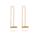 Mini Gold T-Bar Threader Earrings