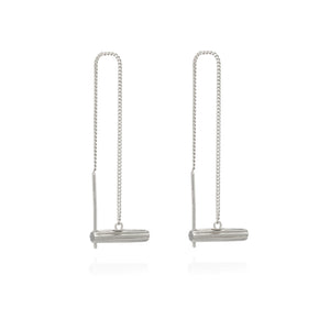 Mini Silver T-Bar Threader Earrings