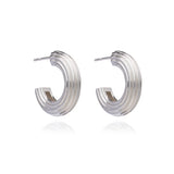 Chunky Ridged Silver Hoop Earrings