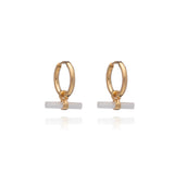 Mini Mother Of Pearl T Bar Gold Huggie Hoop Earrings
