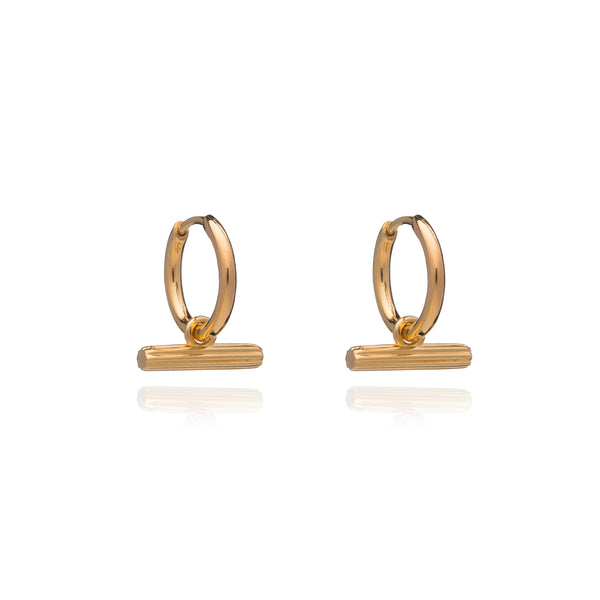 Mini T Bar Gold Huggie Hoop Earrings