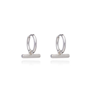 Mini T Bar Silver Huggie Hoop Earrings