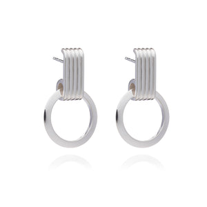 Eternity Circle Silver Hoop Earrings
