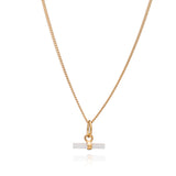 Mini Mother of Pearl T-Bar Gold Necklace