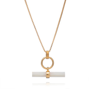 Balance T-Bar Gold and Mother of Pearl Necklace