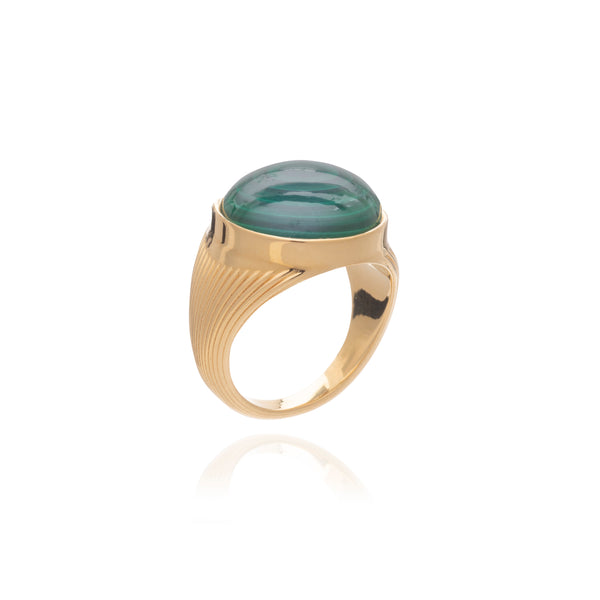 Round Malachite Cabachon Statement Gold Ring