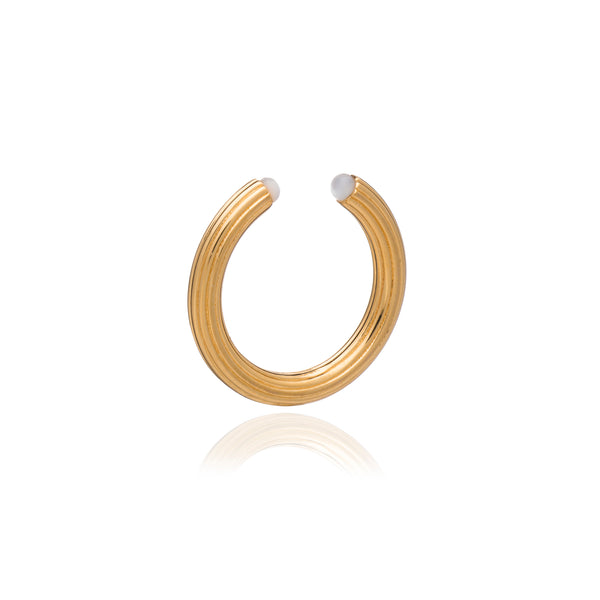 Open Ridged Gold and Mother of Pearl Ring