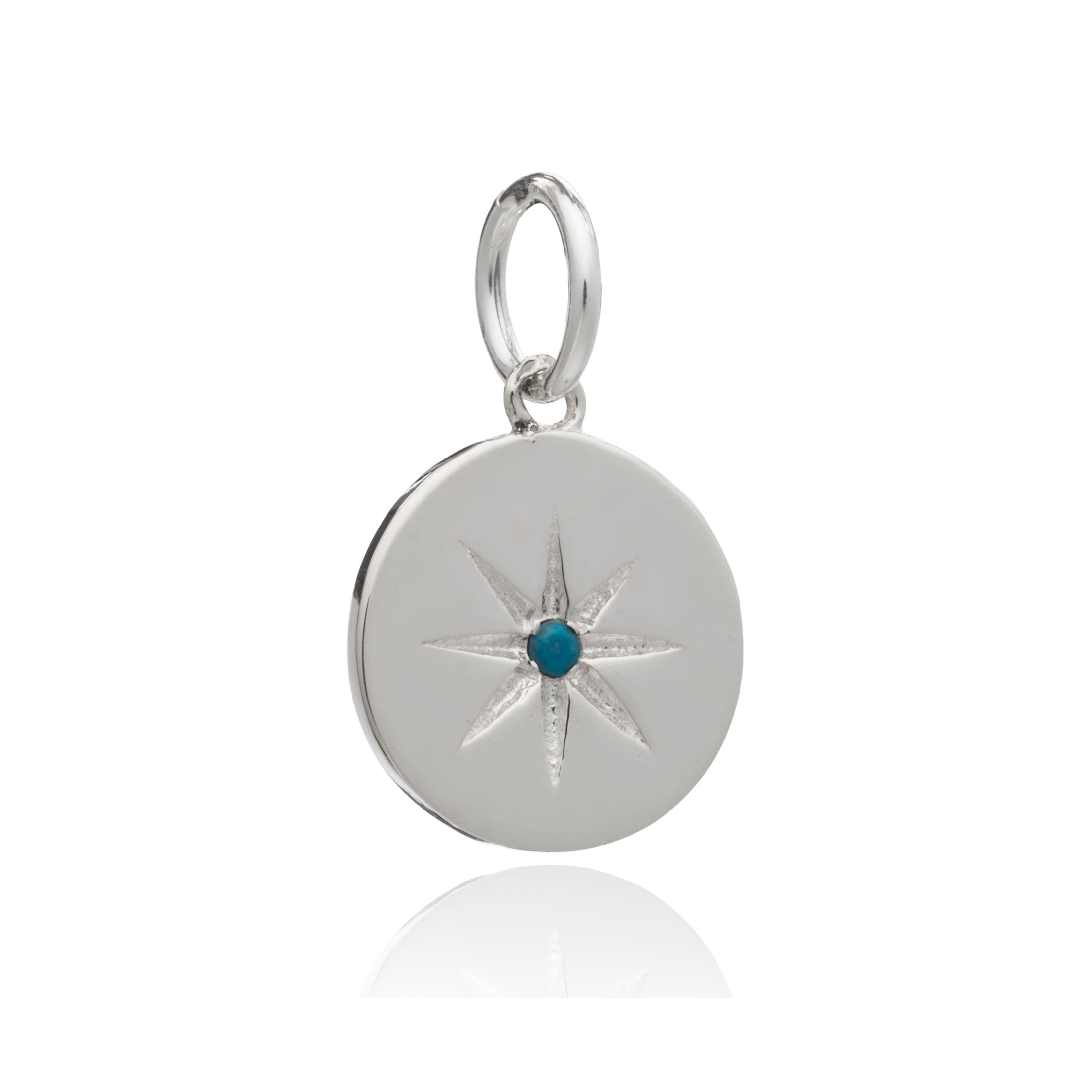 Mother of Daughters December Birthstone disc charm silver Rachel Jackson London