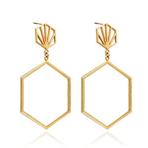 Front Facing Hexagon Hoop Earrings - Gold