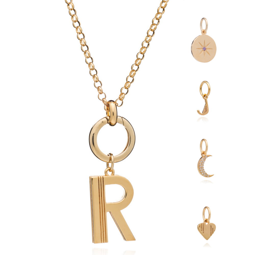 Mother of Daughters Charm personalised large initial necklace chunky chain gold Rachel Jackson London