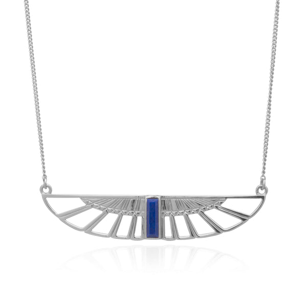 Egyptian Goddess Wing Necklace silver lapis lazuli Rachel Jackson London