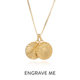 Zodiac Art Coin Duo Necklace - Gold