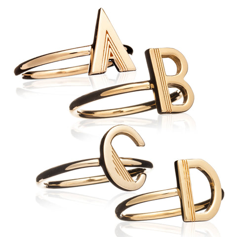 Single Initial Ring - Adjustable - Gold