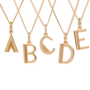 Art Deco Initial Necklace - Gold