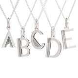 Art Deco Initial Necklace - Silver