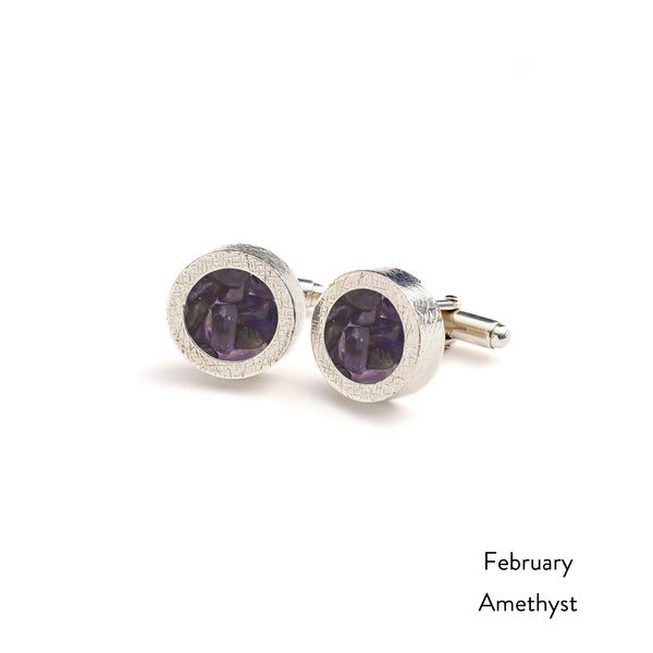 Personalised Birthstone Cufflinks - Silver