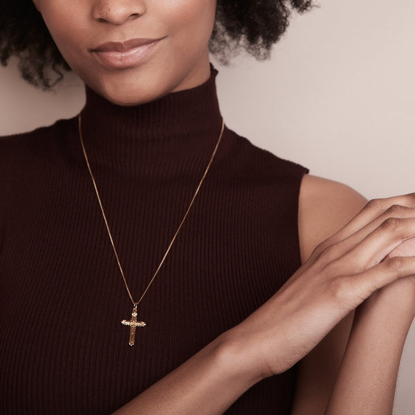 Floral Cross Necklace - Gold