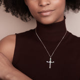 Gemstone Statement Cross Necklace - Silver