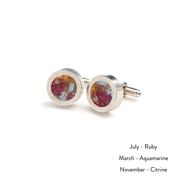 Personalised Mixed Birthstone Cufflinks - Silver