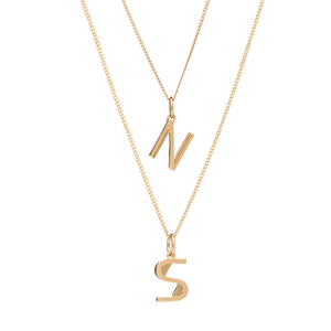 Art Deco Initial Necklace Layering Set - Gold