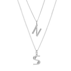 Art Deco Initial Necklace Layering Set - Silver