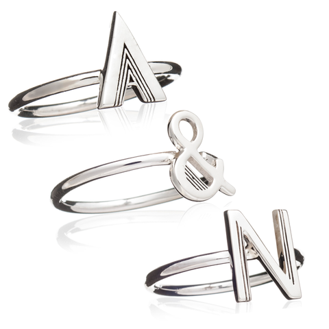 Set of 3 Stacking Initial Rings - Adjustable - Silver