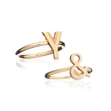 Set of 3 Stacking Initial Rings - Adjustable - Rachel Jackson London